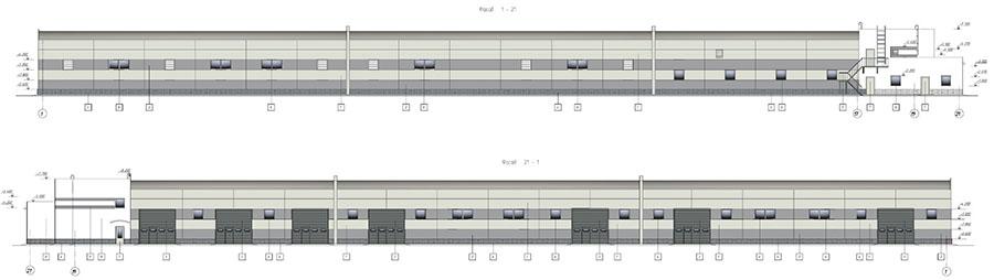 Фасады комплекса по производству металлоконструкций