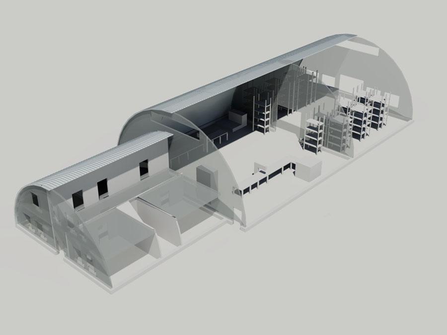 Производственное здание из двух бескаркасных ангаров