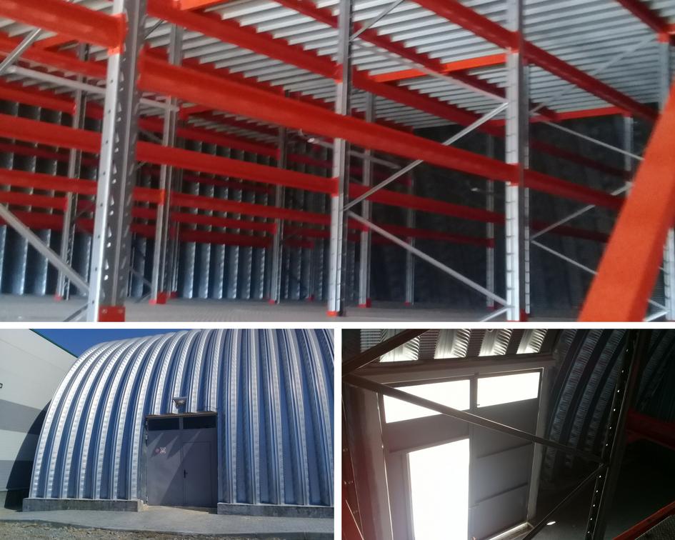 Здание арочного склада изнутри