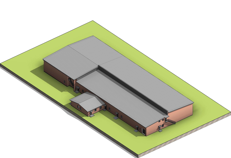 Вид сверху производственно-складского здания для хранения с/х продукции